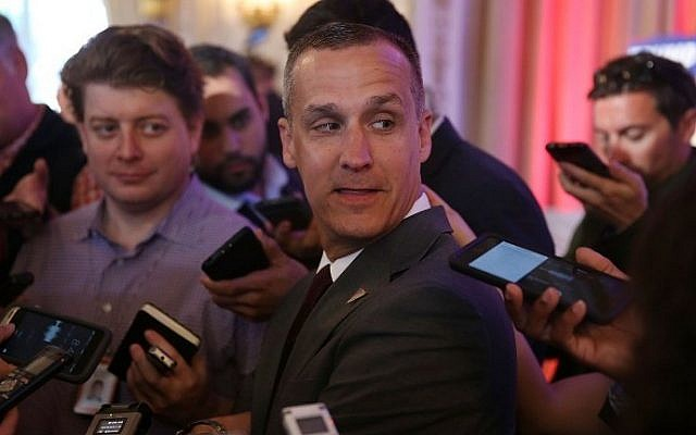 Corey Lewandowski, then-campaign manager for Republican presidential candidate Donald Trump, speaking with the media in Palm Beach, Florida, March 10, 2016. (AFP/Getty Images North America/Joe Raedle)