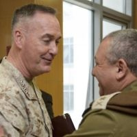Illustrative: US Chairman of the Joint Chiefs of Staff Gen. Joseph Dunford meets with IDF Chief of Staff Lt. Gen. Gadi Eisenkot in his office in army headquarters in Tel Aviv on March 3, 2016. (IDF Spokesperson's Unit)