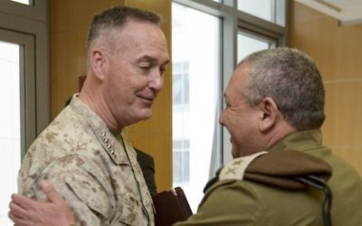 US Chairman of the Joint Chiefs of Staff Joseph Dunford meets with IDF Chief of Staff Gadi Eisenkot in his office in army headquarters in Tel Aviv on March 3, 2016. (IDF Spokesperson's Unit)