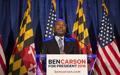 Republican candidate Dr. Ben Carson speaks to supporters at his campaign at his Super Tuesday election party at the Grand Hotel on March 1, 2016 in Baltimore, Maryland. (Jessica Kourkounis/Getty Images/AFP)
