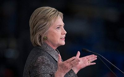 Democratic presidential candidate Hillary Clinton speaks to workers at the Detroit Manufacturing Systems facility on March 4, 2016 in Detroit, Michigan. (Scott Olson/Getty Images/AFP)