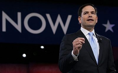 Sen. Marco Rubio (R-Florida) at the CPAC 2016 conference, March 5, 2016 in National Harbor, Maryland. (Mark Wilson/Getty Images/AFP)