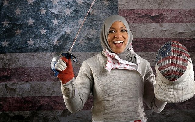 US fencer Ibtihaj Muhammad poses for a portrait at the 2016 Team USA Media Summit at The Beverly Hilton Hotel on March 9, 2016 in Beverly Hills, California. (Sean M. Haffey/Getty Images/AFP)