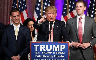 Republican presidential candidate Donald Trump speaks during a primary night press conference at the Mar-A-Lago Club's Donald J. Trump Ballroom March 15, 2016 in Palm Beach, Florida. (Win McNamee/Getty Images/AFP)