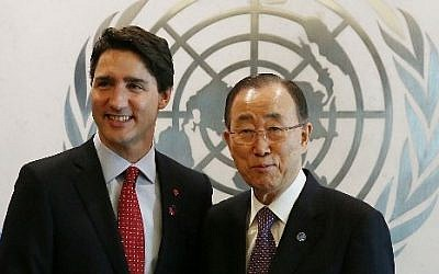 NEW YORK, NY - MARCH 16: Canadian Prime Minister Justin Trudeau meets with United Nations Secretary-General Ban Ki-moon at the United Nations headquarters on March 16, 2016 in New York City. In an announcement at the U.N., Trudeau said that Canada is making a bid to take a seat on the United Nations Security Council for a two-year term beginning in 2021.   Spencer Platt/Getty Images/AFP