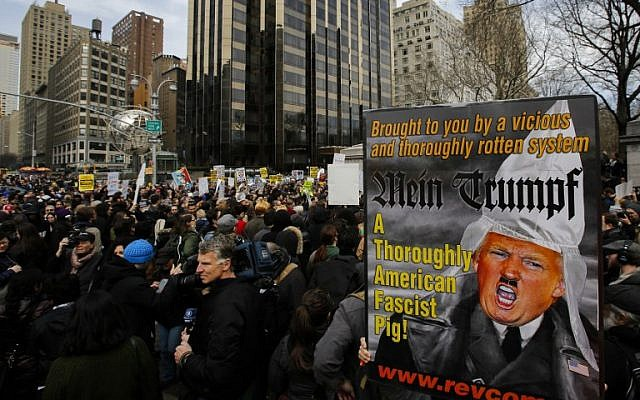 People take part in a protest against Republican presidential candidate Donald Trump, on March 19, 2016 in New York City. (Eduardo Munoz Alvarez/Getty Images/AFP)