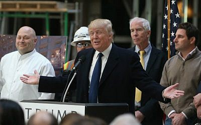 Republican presidential candidate Donald Trump speaks to the media at the Trump International Hotel that is currently under construction, March 21, 2016 in Washington, DC. (Mark Wilson/Getty Images/AFP)