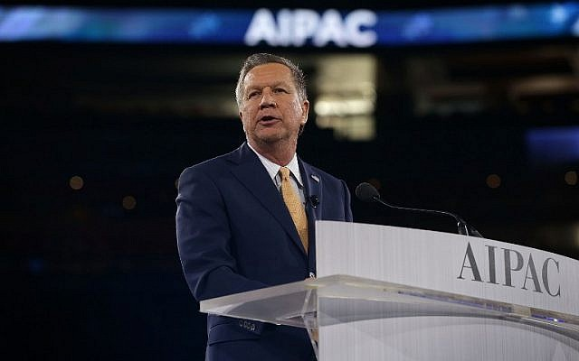 Republican presidential candidate, Ohio Gov. John Kasich addresses the annual policy conference of the American Israel Public Affairs Committee (AIPAC) March 21, 2016 in Washington, DC. (Alex Wong/Getty Images/AFP)