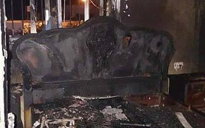 Damage caused to a home in the West Bank village of Duma after a suspected firebomb attack, March 20, 2016. (Facebook)