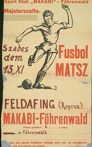 Football match. Teams Feldafing vs Fohrenwald. (Transliterated Yiddish. ©YIVO Institute for Jewish Research)