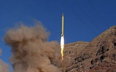 "A missile launched from the Alborz mountains in Iran on March 9, 2016, reportedly inscribed in Hebrew, ""Israel must be wiped out."" (Fars News)"