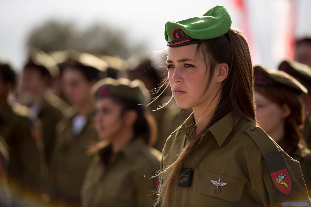 The female soldiers of the Jordan Lions Battalion during their swearing-in ceremony in February 2015. (IDF Spokesperson's Unit.)
