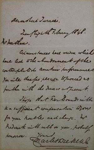 A 1848 letter from Charles Dickens, one of the Angels' happy customers. (courtesy)