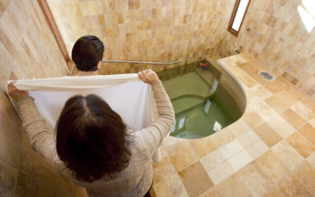 Illustrative: A mikveh immersion for the purpose of conversion to Judaism. (Mayyim Hayyim/Tom Kates via JTA)
