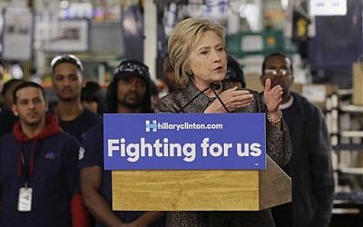 Democratic presidential candidate Hillary Clinton speaks at the Detroit Manufacturing Systems plant, Friday, March 4, 2016, in Detroit. (AP Photo/Carlos Osorio)