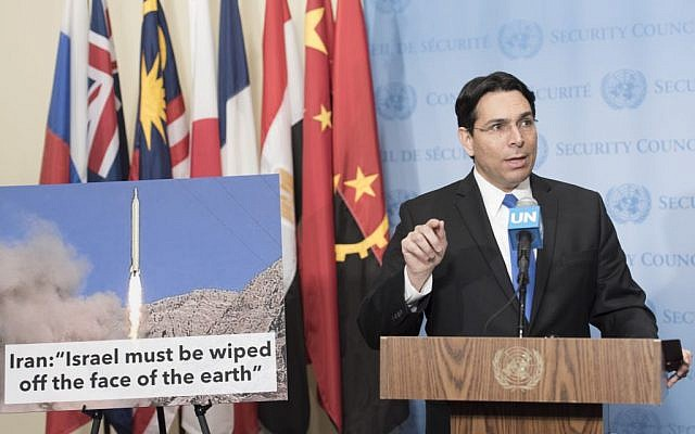 Israel's ambassador to the UN Danny Danon speaks to journalists ahead of UN Security Council consultations on the March 9, 2016 ballistic missile launches by Iran, March 14, 2016. (UN/Mark Garten)
