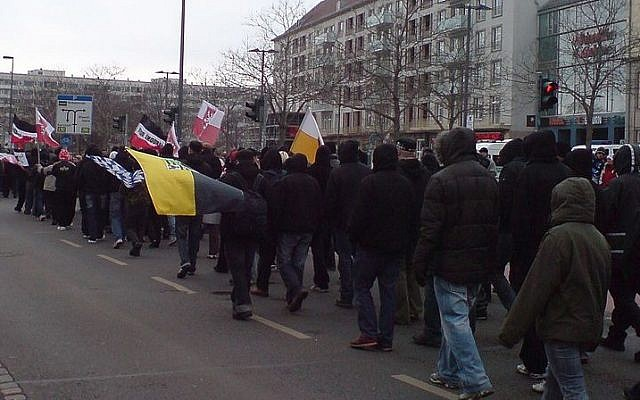 Supporters of the NPD and other protesters in Dresden, 2009. (Samuel3333 - Public Domain/Wikipedia)