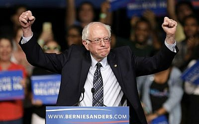Democratic presidential candidate Sen. Bernie Sanders at a campaign rally in Miami, Florida, March 8, 2016 (AP/Alan Diaz)
