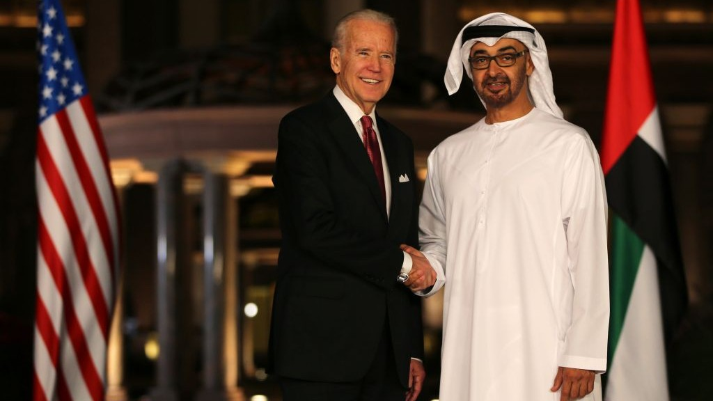 Joe Biden, the U.S. Vice President shakes hands with Sheikh Mohammed bin Zayed Al Nahyan, Crown Prince of Abu Dhabi and Deputy Supreme Commander of the UAE Armed Forces at the Emirates Palace in Abu Dhabi, United Arab Emirates, Monday, March 7, 2016. (AP Photo/Kamran Jebreili)