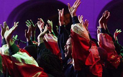 Illustrative: Members of the US Virginia State Gospel Chorale gospel choir perform during their concert in the Great Calvinist Church in Debrecen, Hungary, on Dec.12, 2015. (Zsolt Czegledi/MTI via AP)