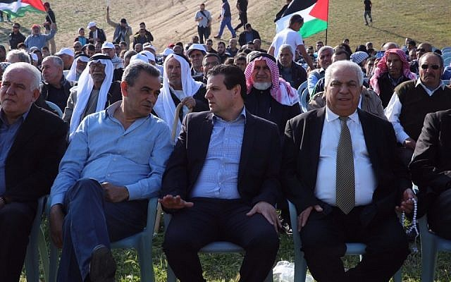 Image from the Land Day demonstration on March 30th, 2016, in the unrecognized village Bedouin village of Umm il-Hiran. In the center Joint (Arab) List leader Ayman Odeh; on the left Joint List MK Jamal Zahalka. (Courtesy: Joint List)