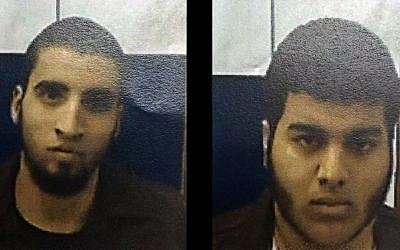 Ahmad Nabil Ahmad Ahmad, left, and Bahaa Eldin Ziad Hasan Masarwa, right, have been charged with conspiracy to commit a crime, it was revealed on March 3, 2016. (Shin Bet)