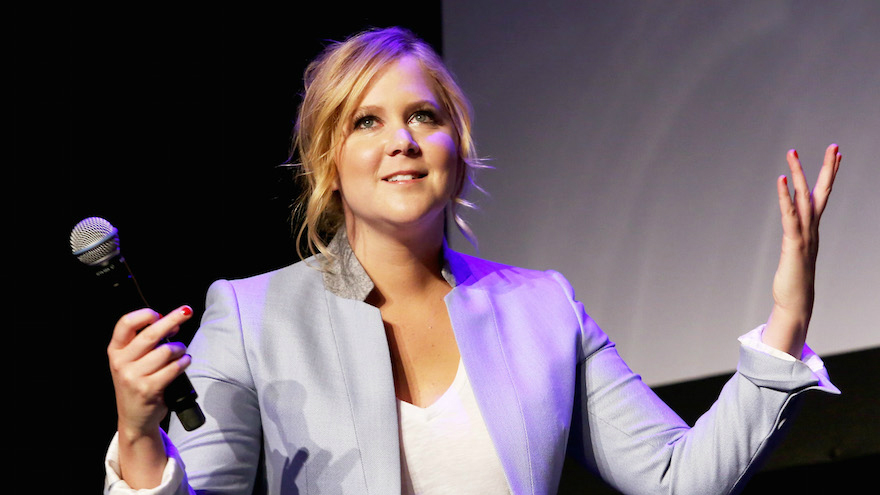 "Amy Schumer speaking about her film ""Trainwreck"" at the 2015 Tribeca Film Festival on April 19, 2015, in New York. (Robin Marchant/Getty Images via JTA)"