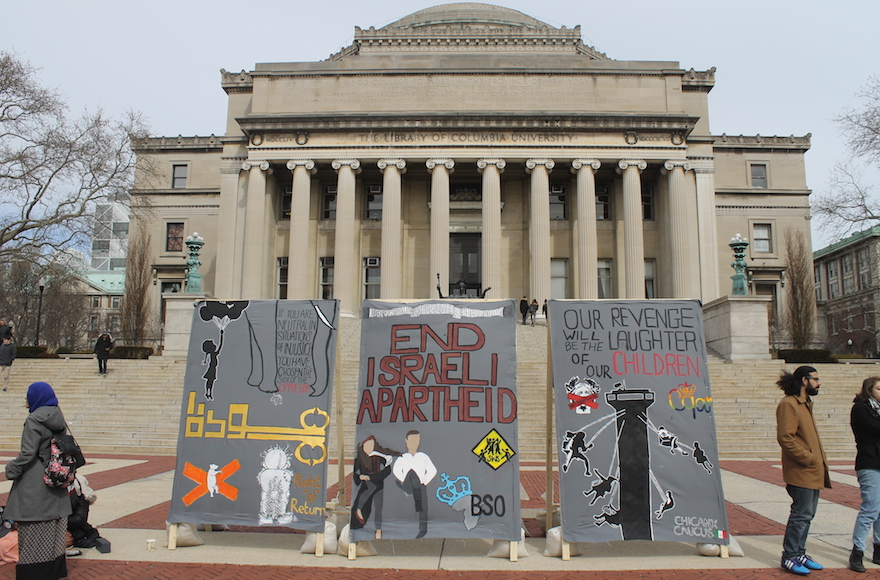 Illustrative: anti-Israel students at Columbia University erected a mock 'apartheid wall' in front of the iconic Low Library steps during Israel Apartheid Week, March 3, 2016. (Uriel Heilman)