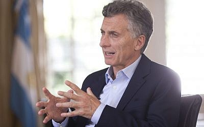 Argentina's President Mauricio Macri speaks during an interview with The Associated Press at the Olivos' presidential residency in Buenos Aires, Argentina, March 16, 2016.  (AP Photo/Victor R. Caivano)