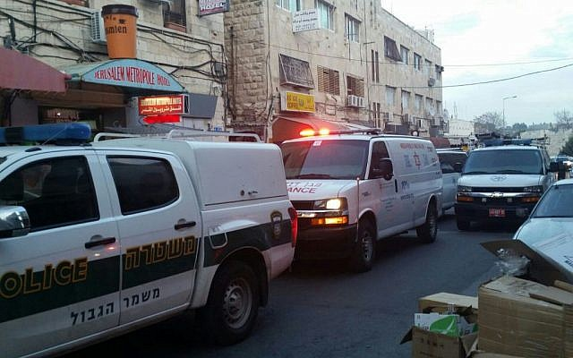 Ambulances and police vehicles arrive at the scene of a shooting attack on Salah a-Din street in Jerusalem on Tuesday, March 8, 2016 (Magen David Adom)