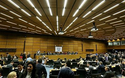 General view of the board of governors meeting of the International Atomic Energy Agency, IAEA, at the International Center in Vienna, Austria, Monday, March 7, 2016. (AP Photo/Ronald Zak)