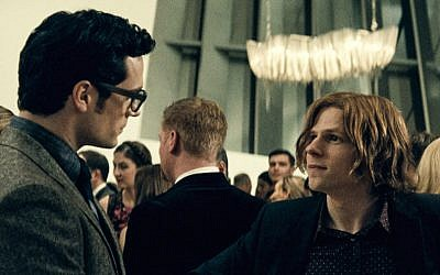 "Henry Cavill, left, as Clark Kent, and Jesse Eisenberg as Lex Luthor in ""Batman v. Superman: Dawn of Justice."" (Courtesy of Warner Bros. Pictures/DC Comics)"