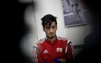 Mourad Laachraoui, considered one of Belgium's big Taekwondo talents, and brother of Najim Laachraoui, is seen during a press conference in Brussels, Belgium, March 24, 2016. (AP/Peter Dejong)