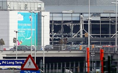 A view of bomb damage as passengers are evacuated from Zaventem Bruxelles International Airport after a terrorist attack in Brussels, Belgium, March 22, 2016. (Sylvain Lefevre/Getty Images via JTA)