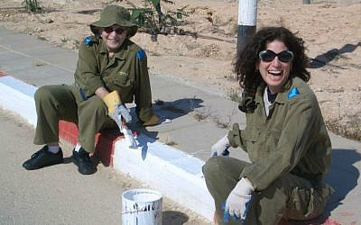 Mildred and Gayle Kirschenbaum volunteering on an IDF base. (Kirschenbaum Productions)