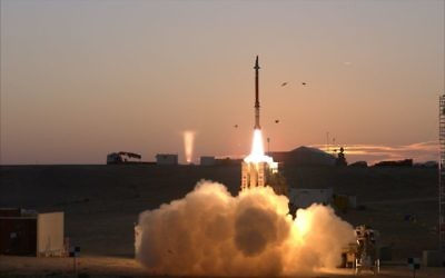 A test of the David's Sling missile defense system. (Defense Ministry)