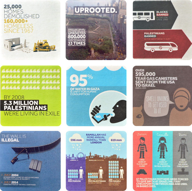Ready to be ordered as table coasters, an array of anti-Israel messages created by Visualizing Palestine, whose materials are used during 'Israeli Apartheid Weeks' (courtesy)