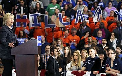 Democratic presidential candidate Hillary Clinton speaks during a rally at Cuyahoga Community College in Cleveland, March 8, 2016. (AP Photo/Tony Dejak)