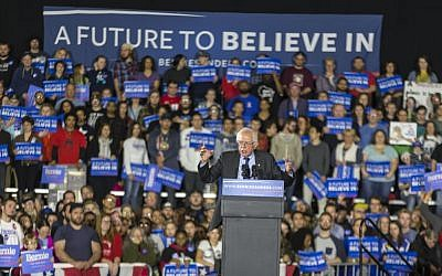 Democratic presidential candidate Bernie Sanders speaks at a campaign stop Saturday, March 26, 2016, in Madison, Wisconsin (AP Photo/Andy Manis)