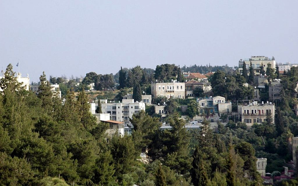 A view of the Greek Compound in Abu Tor from the Old City's Jaffa Gate (Sue Surkes/Times of Israel)