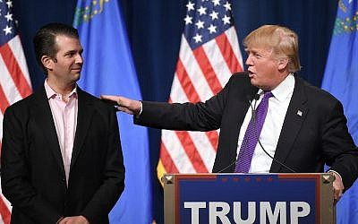 Donald Trump Jr. looking on as his father, Donald Trump, speaks at a caucus night watch party at the Treasure Island Hotel & Casino in Las Vegas, Nevada, Feb. 23, 2016. (Ethan Miller/Getty Images)