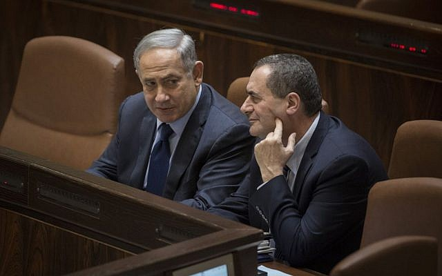 File: Prime Minister Benjamin Netanyahu talks with Yisrael Katz during a Knesset plenary session, February 8, 2016. (Hadas Parush/Flash90)