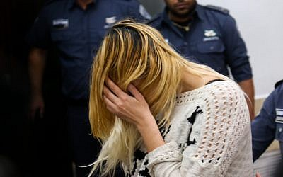Shiri Sobol at a court hearing at the Tel Aviv Magistrate's Court on February 19, 2016 (Flash90)