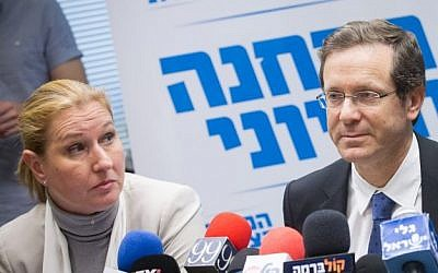 Isaac Herzog seen with MK Tzipi Livni at a Zionist Union faction meeting in the Knesset on February 29, 2016. (Miriam Alster/Flash90)