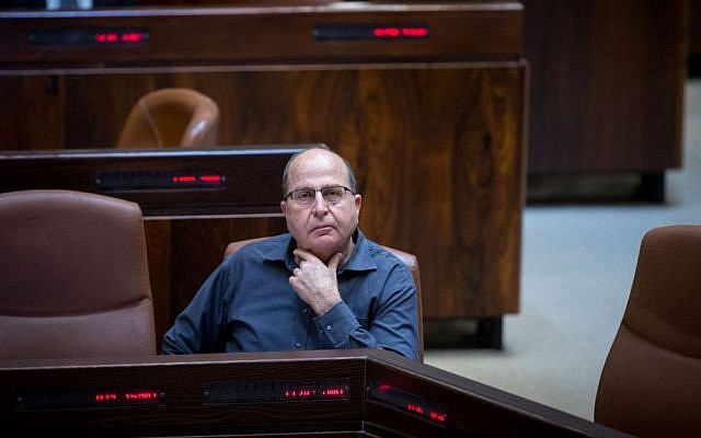Defense Minister Moshe Ya'alon seen in the Knesset, February 29, 2016. (Miriam Alster/Flash90)