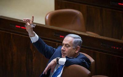 Benjamin Netanyahu in the Knesset on March 7, 2016. (Yonatan Sindel/Flash90)