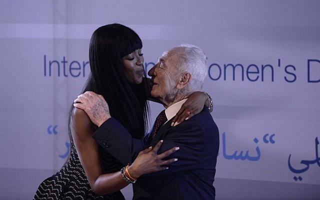 Shimon Peres and Naomi Campbell at the Peres Center for Peace in honor of International Women's Day, March 8, 2016 (Courtesy Rafi Delouya)