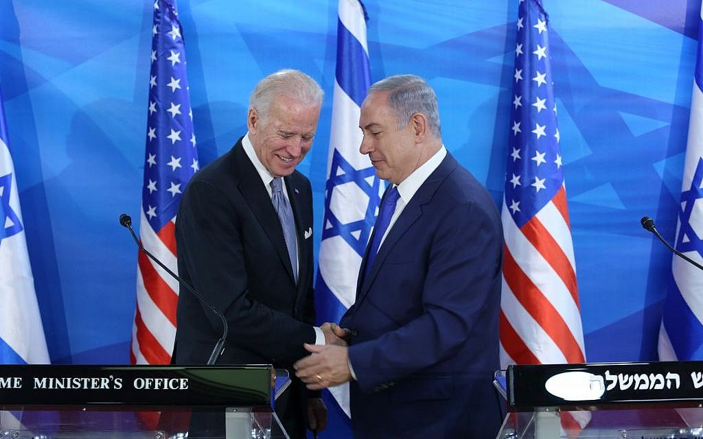Prime Minister Benjamin Netanyahu holds a joint press conference with then-US vice president Joe Biden at the Prime Minister's Office in Jerusalem, on March 9, 2016, during Biden's official visit to Israel and the Palestinian Authority. (Amit Shabi/POOL)