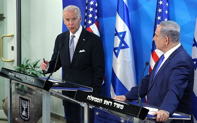 Prime Minister Benjamin Netanyahu, right, holds a joint press conference with United States Vice President Joe Biden at the Prime Minister's Office in Jerusalem, on March 9, 2016. (Amit Shabi/POOL)