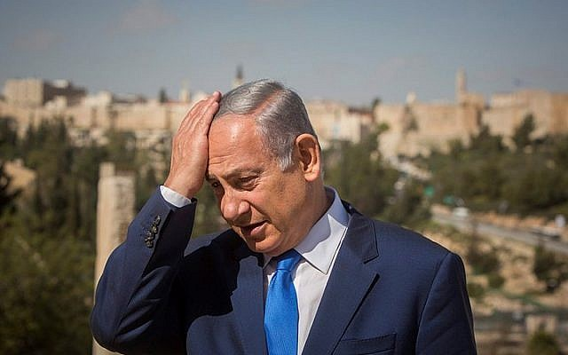 Prime Minister Benjamin Netanyahu during a visit to the Menachem Begin Heritage Center in Jerusalem on March 14, 2016 (Yonatan Sindel/Flash90)